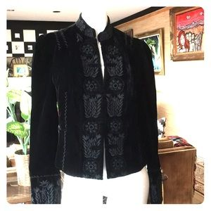 Black velvet embroidered blazer Nehru jacket BCBG